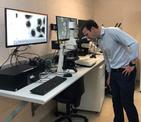 Senator Matt Canavan looking at oyster larvae at DAC